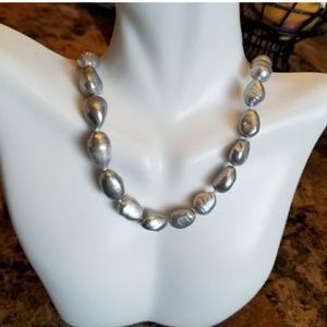 10-12MM Silver Gray Freshwater Baroque Necklace